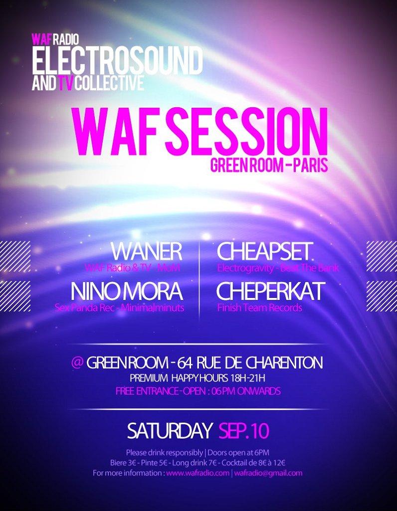 Waf Session feat Cheapset, Cheperkat, Waner, Nino Mora - Flyer front