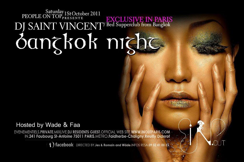 Bangkok Night feat Saint-Vincent / Bed Supperclub Bangkok - Flyer front