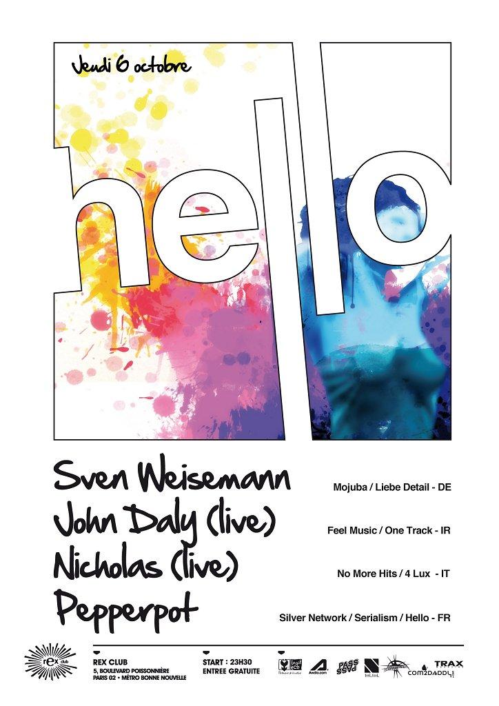 Hello with Sven Weisemann / Nicholas / John Daly / Pepperpot - Flyer front