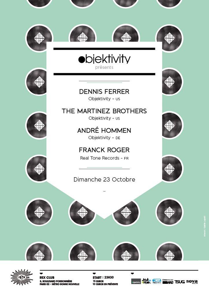 Objektivity presents Dennis Ferrer, Martinez Brothers, Andre Hommen, Franck Roger - Flyer front