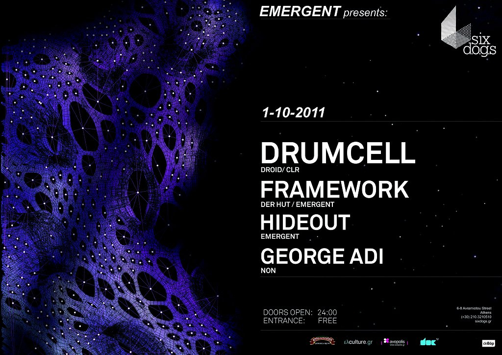 Emergent presents:drumcell (Droid,clr) - Flyer front
