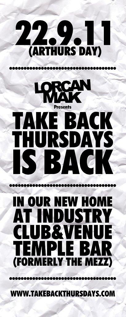 Take Back Thursdays Is Back - Flyer front