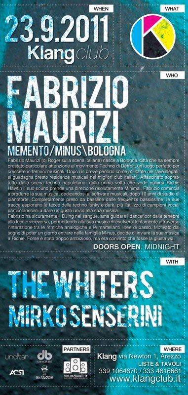 Klang Club with Fabrizio Maurizi, The Whiters and Mirko Senserini - Flyer front