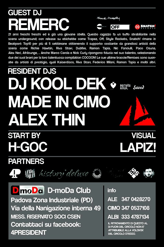 4club with Remerc - Flyer back