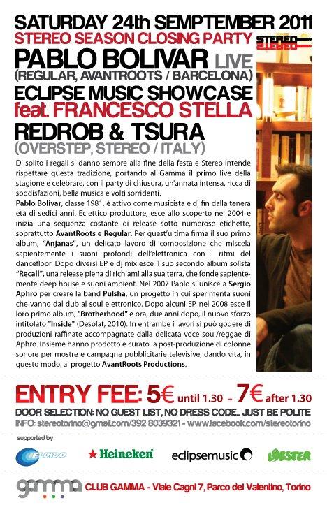 Stereo Pres. Pablo Bolivar live - Flyer back