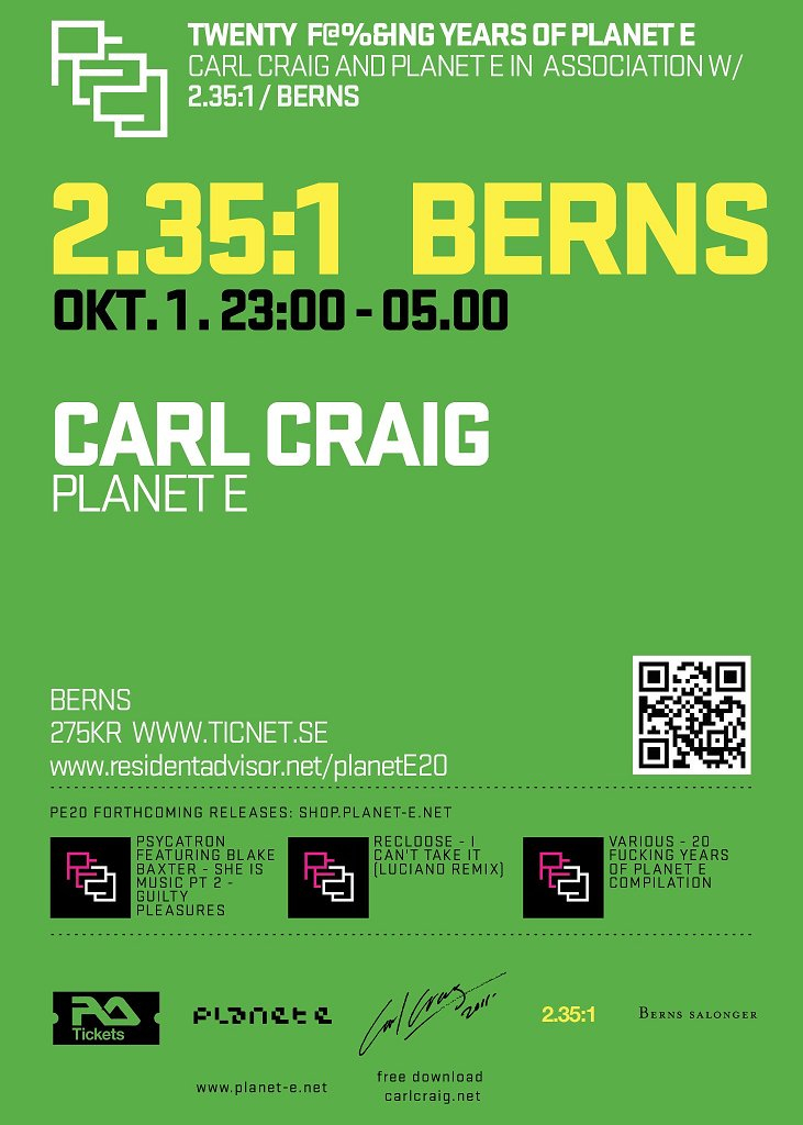 Carl Craig - The Planet E 20th Anniversary Tour - Flyer front