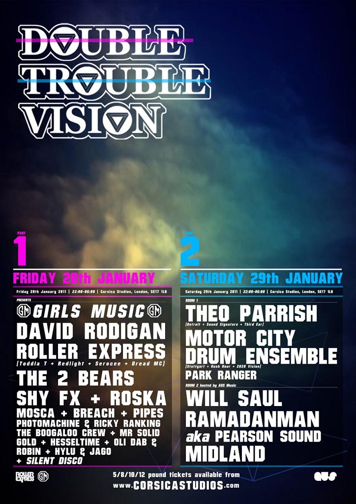 Double Trouble Vision Part 2 - Theo Parrish, MCDE, Will Saul - Flyer back