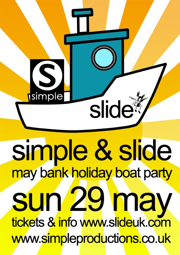 Simple & Slide May Bank Holiday Boat Party - Flyer front