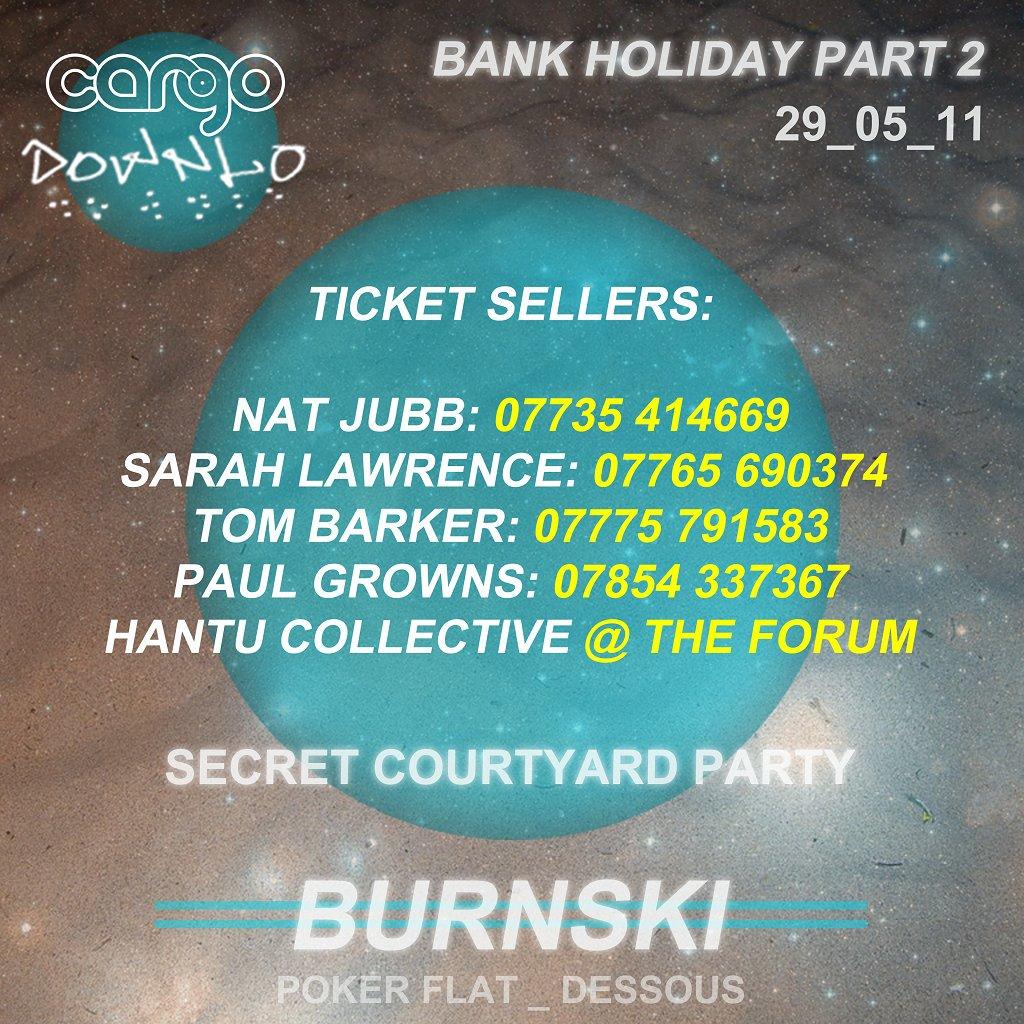 Downlo Cargo Secret Courtyard Party with Burnski - Flyer back