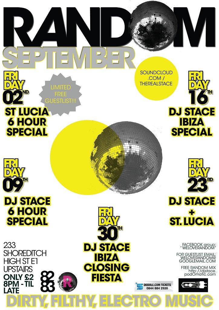 Random - Dj Stace St. Lucia - Flyer front