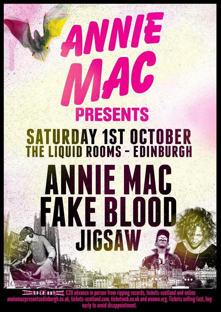 Annie Mac presents Annie Mac, Fake Blood and Jigsaw - Flyer front
