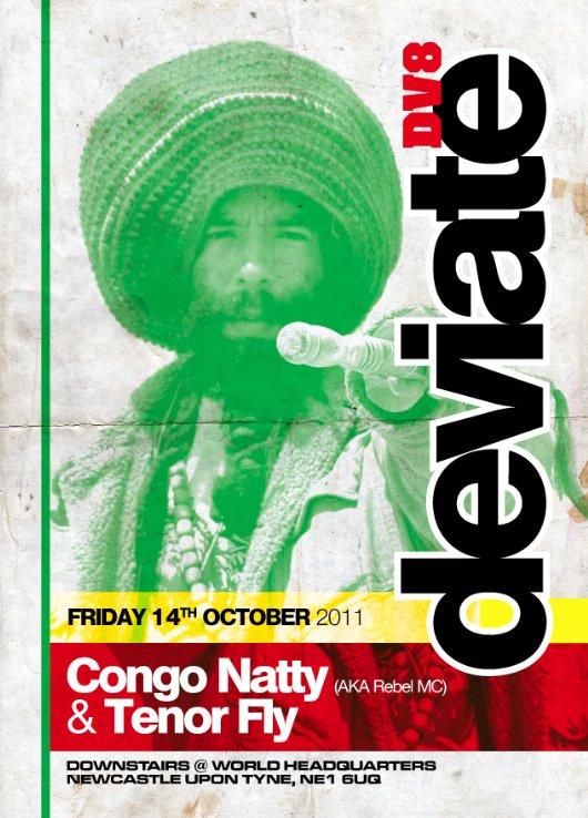 Deviate presents: Congo Natty & Tenor Fly - Flyer front