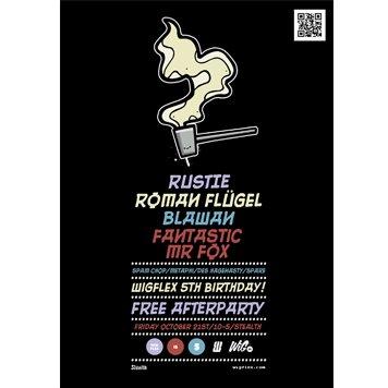 Wigflex 5th Birthday - Rustie, Roman Flugel, Blawan, Fantastic Mr Fox - Flyer back