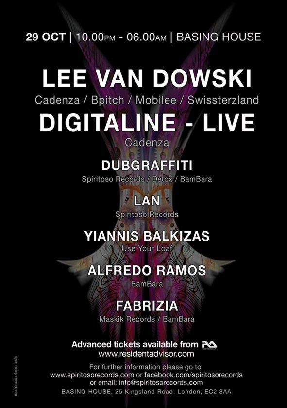 Spiritoso Records & Antidote with Lee Van Dowski (Cadenza) & Digitaline (Live) (Cadenza) - Flyer back