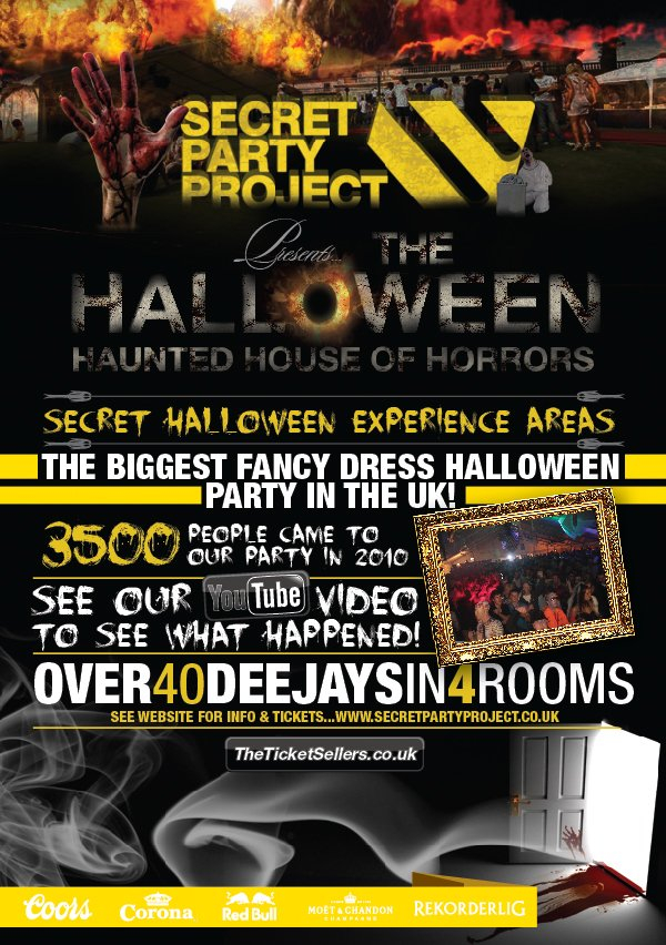 Secret Party Project presents... The Haunted House Of Horrors - Flyer back