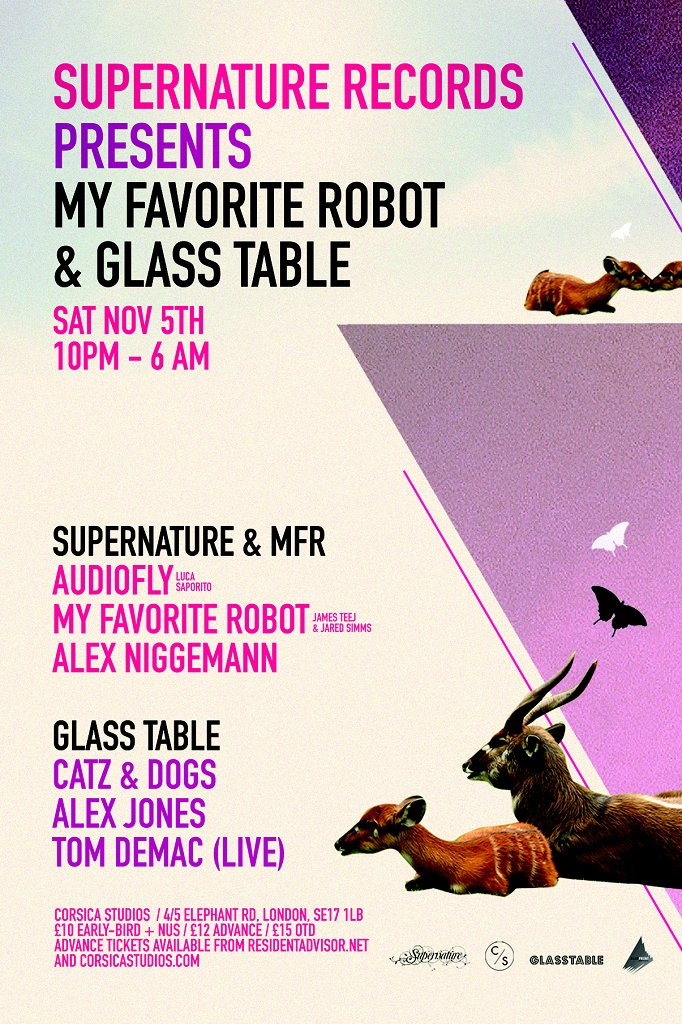 Supernature presents My Favorite Robot & Glass Table with Audiofly, Catz 'N Dogz & More - Flyer front