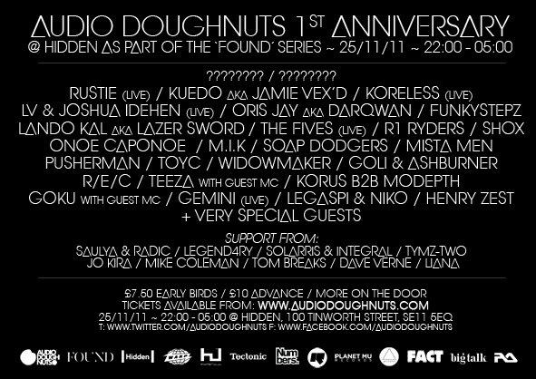 Audio dOughnuts 1st Anniversary with Rustie, Kuedo Aka Jamie Vex'd, Koreless, Lv - Flyer back