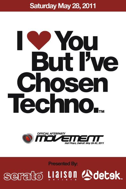I Love You But I'Ve Chosen Techno - Flyer front
