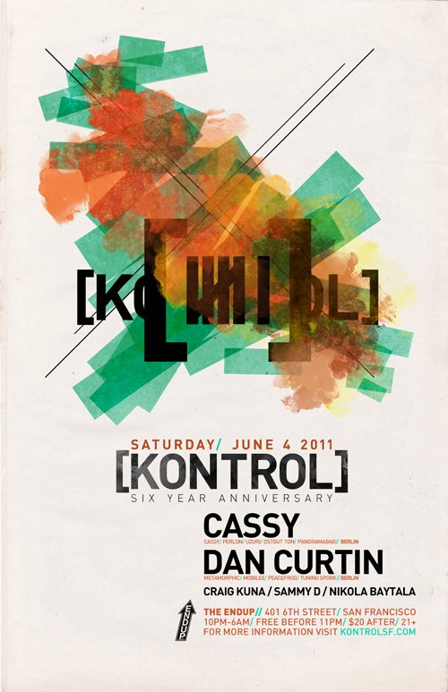 [kontrol] 6 Year Anniversary with Cassy & Dan Curtin - Flyer front