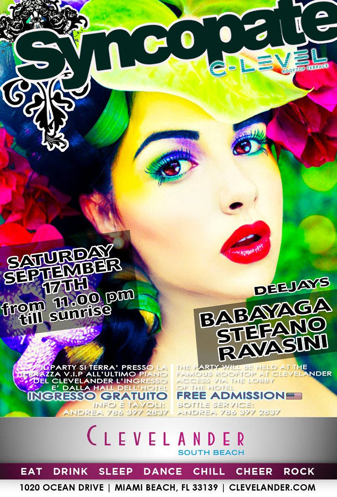 Syncopate Party with Miss Babayaga DJ - Flyer front