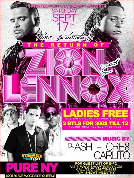 Club Pure Saturdays - Zion & Lennox Live - Ladies Free Til 1am - Flyer front