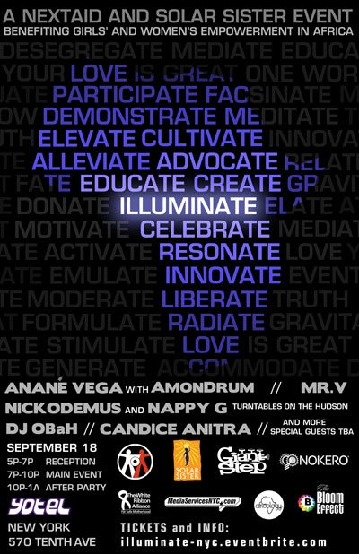 Illuminate - A Nextaid and Solar Sister Event - Flyer front