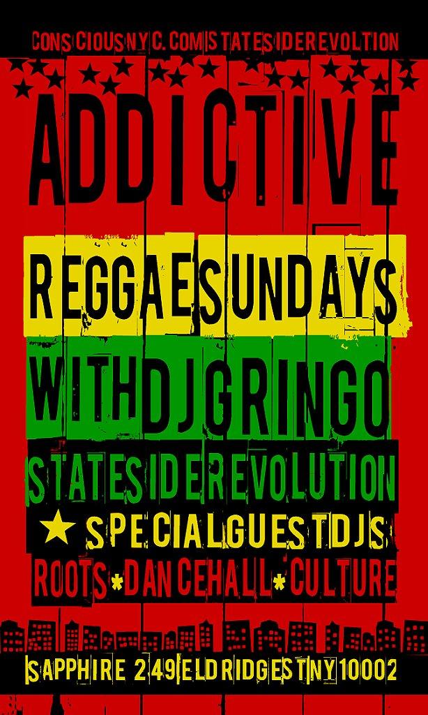 Addictive Reggae Sundays - Flyer front