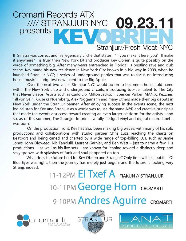 Cromarti Records ATX - Stranjjur Nyc presents Kev Obrien - Flyer back