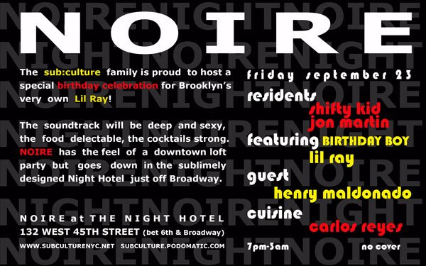 Noire presents Lil Ray's Birthday - Flyer front