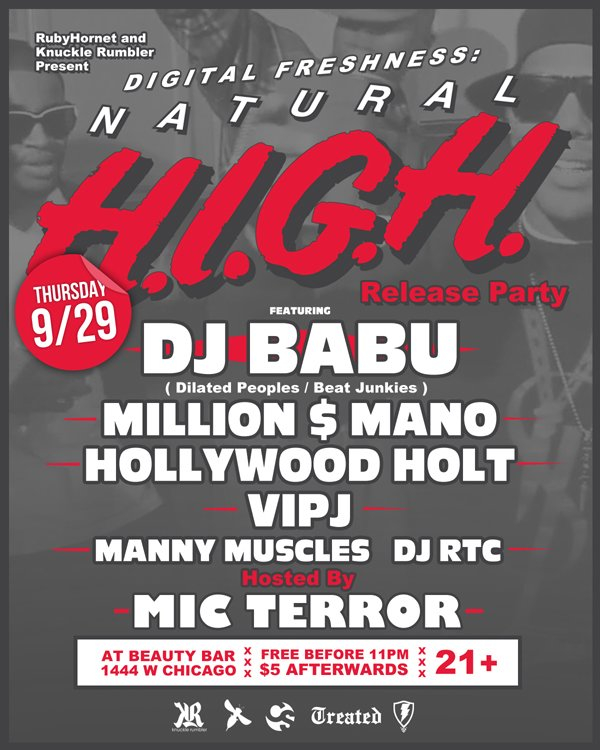 Digital Freshness: 'natural High' Release Party with Dj Babu - Flyer front