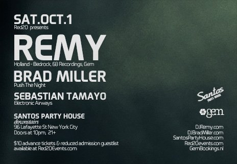 Red20 presents Remy with Brad Miller - Downstairs - Flyer back