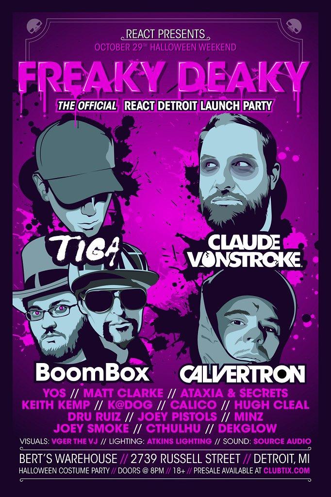 Freaky Deaky - Tiga, Claude Vonstroke and Boombox - Flyer front