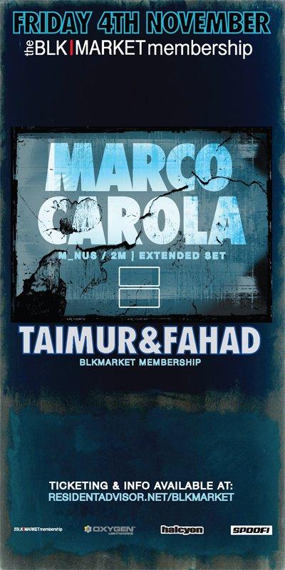 Blkmarket Membership with Marco Carola - Flyer back