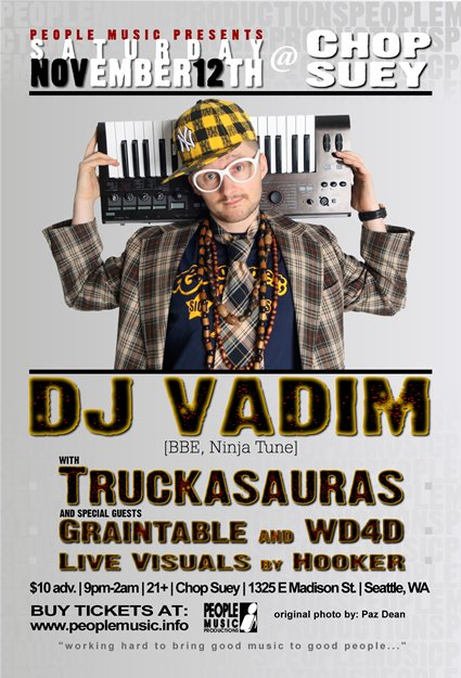 Dj Vadim with Truckasauras, Graintable and Wd4d - Flyer front