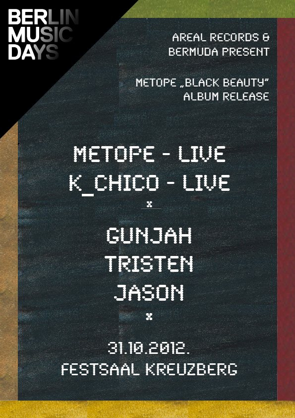 Bermuda with Metope Black Beauty Album Release Party - Flyer front
