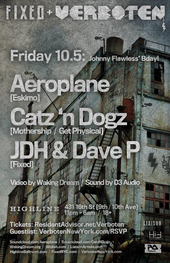 Verboten & Fixed present Aeroplane & Catz 'n Dogz - Flyer back