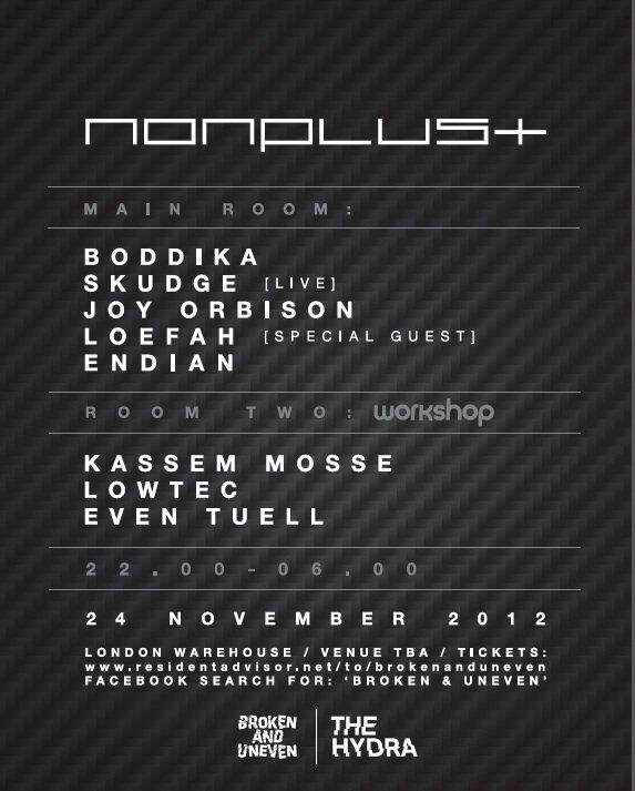 The Hydra: Non Plus x Workshop with Boddika, Skudge, Joy Orbison, Loefah, Kassem Mosse - Flyer front