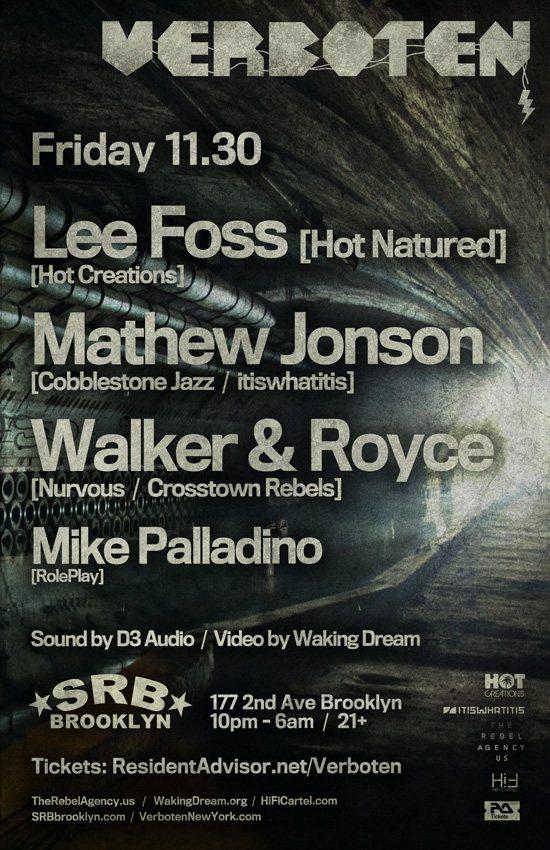 Verboten presents Lee Foss / Mathew Jonson / Walker & Royce - Flyer back