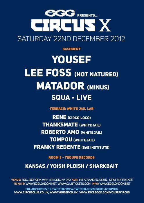 Circus Xmas: Yousef, Lee Foss, Matador (Live), Rene, Whitejail - Flyer back