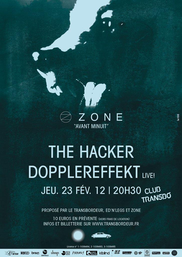 'zone Avant Minuit': Dopplereffekt Live & The Hacker - Flyer front