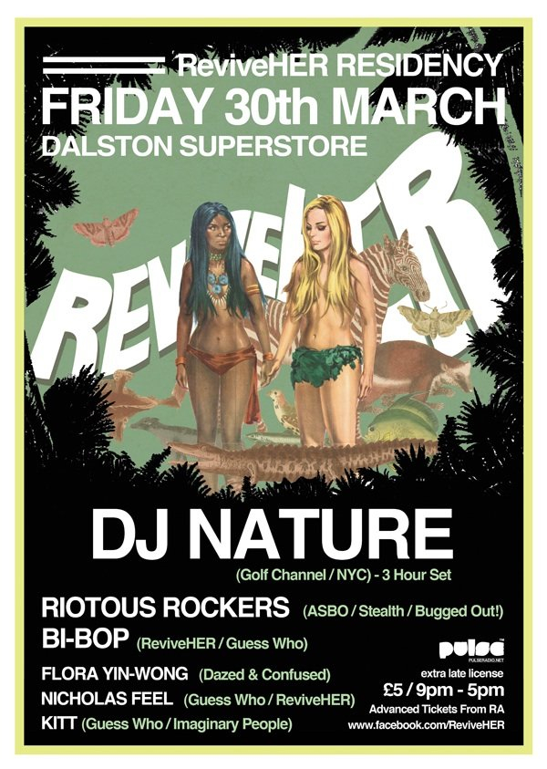 Reviveher Residency with Dj Nature, Riotous Rockers, Flora Yin-Wong - Flyer front