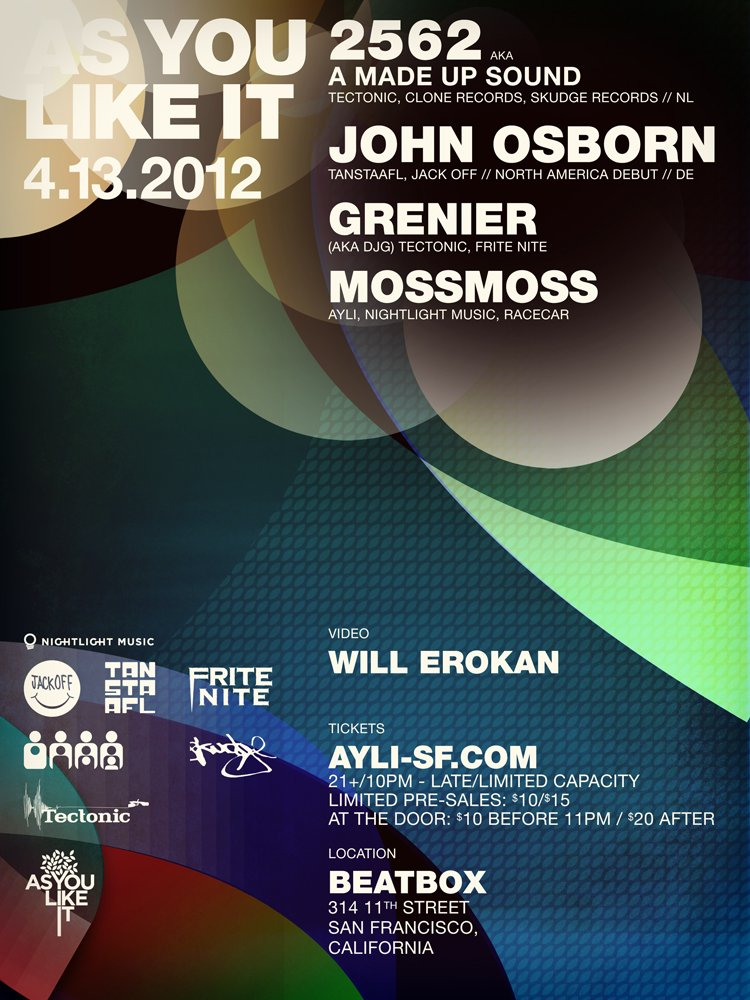 As You Like It with 2562 Aka A Made Up Sound & John Osborn - Flyer front