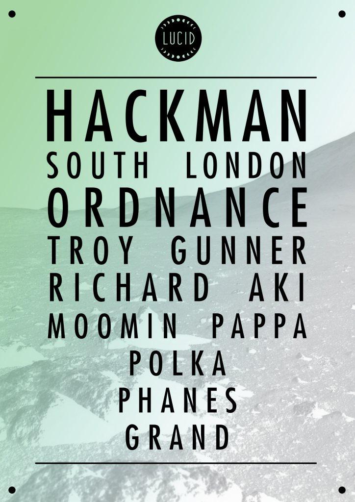 Lucid presents Hackman, South London Ordnance & Troy Gunner - Flyer front