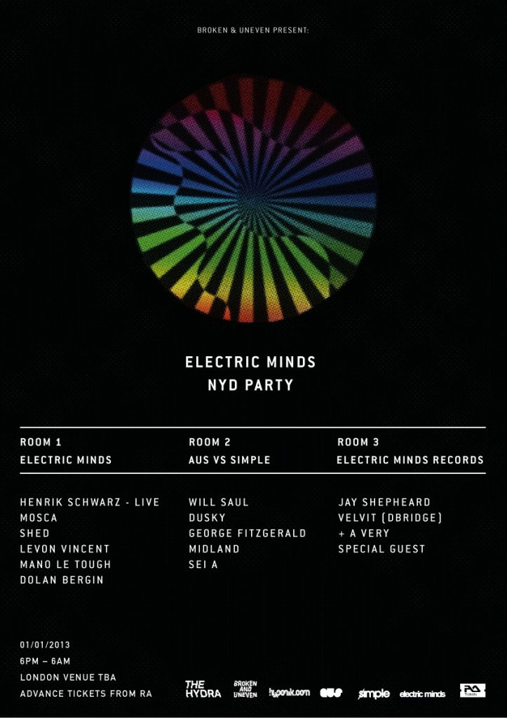 The Hydra: Electric Minds NYD Party with Henrik Schwarz, Mosca, Shed, Will Saul, Levon Vincent - Flyer front