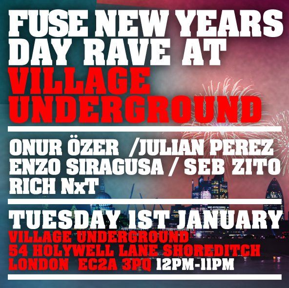 Fuse New Years Day Rave - Flyer front