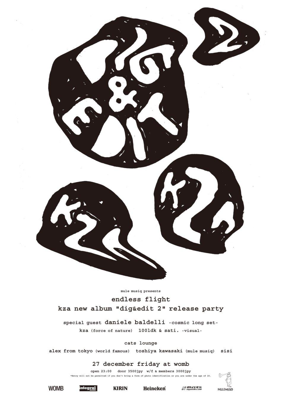 Endless Flight Feat.Daniele Baldelli -KZA New Album 'Dig&edit2' Release Party- - Flyer front