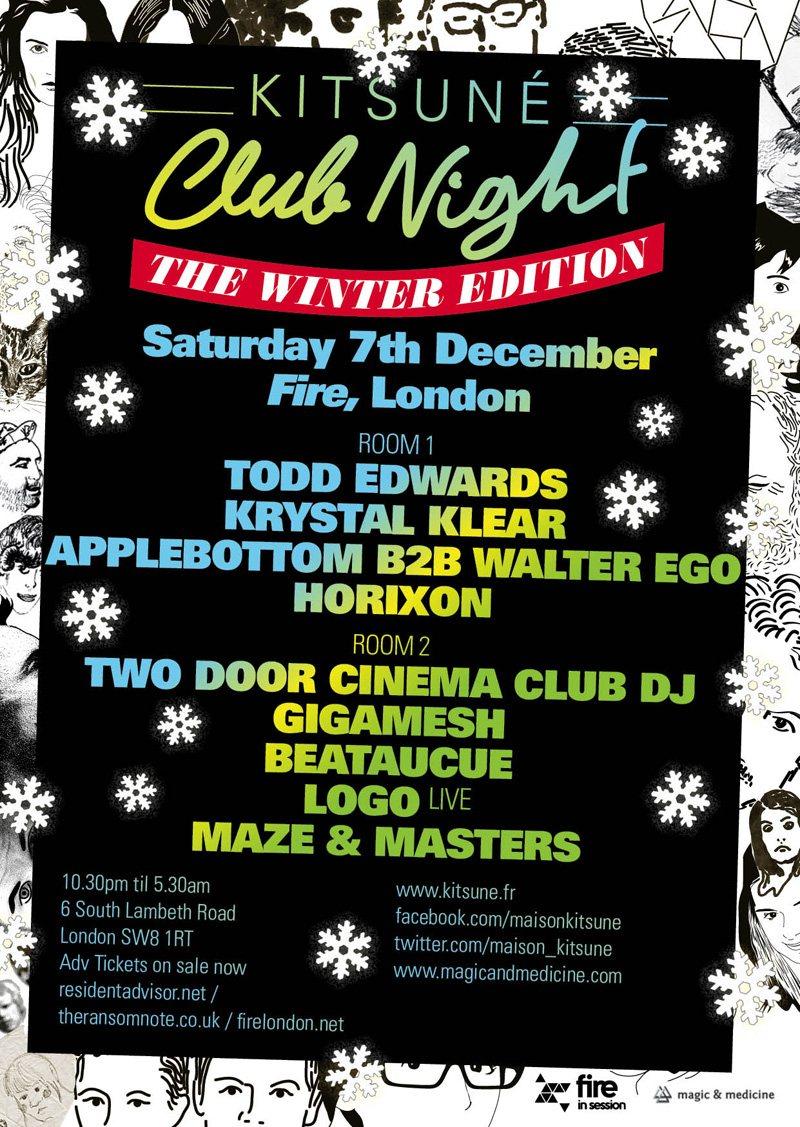 Kitsune Club Night-Todd Edwards, Krystal Klear,Applebottom, Gigamesh, Beataucue - Flyer front
