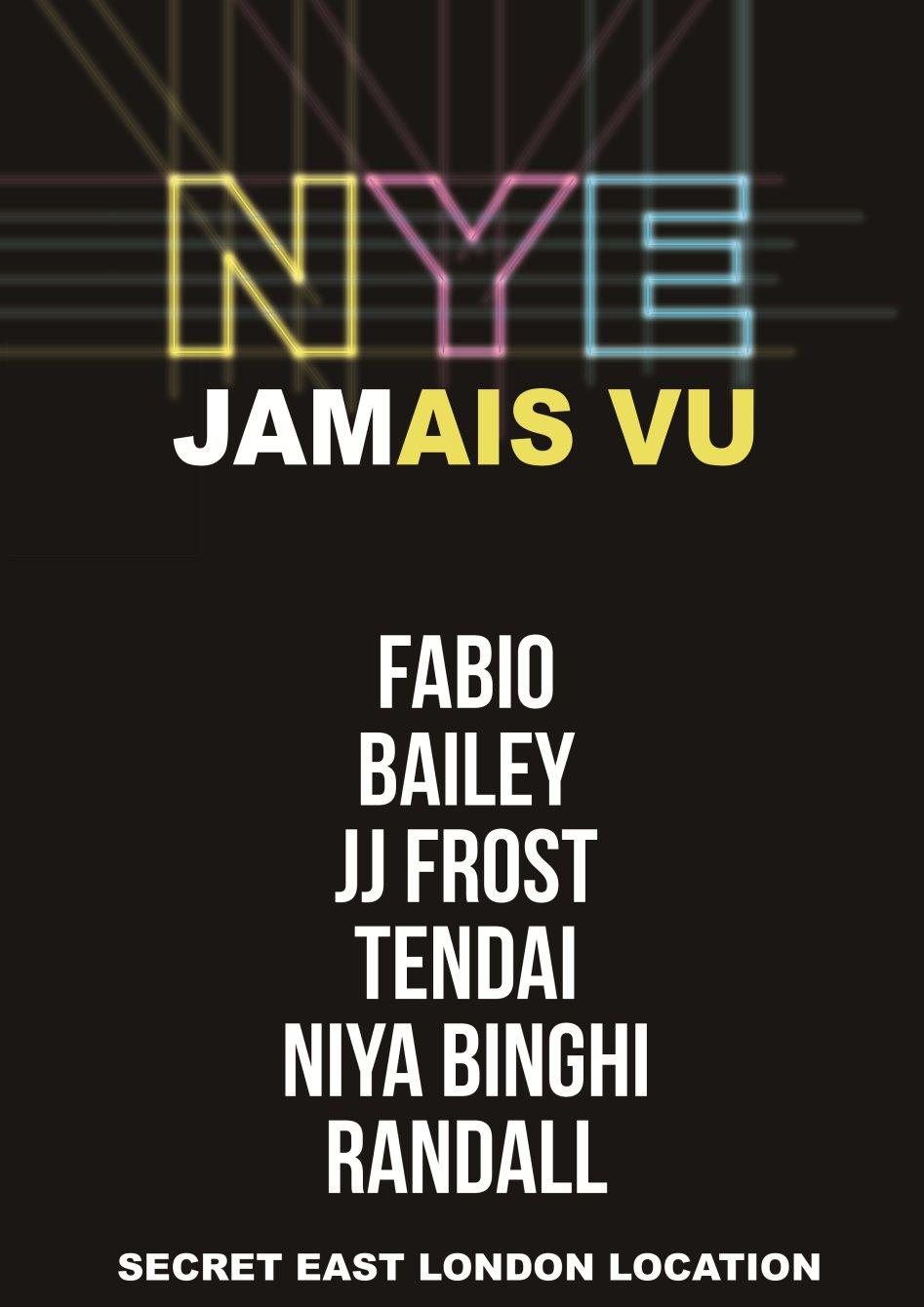 Jamais Vu New Years Eve at Basement, E1 2LH - Flyer front
