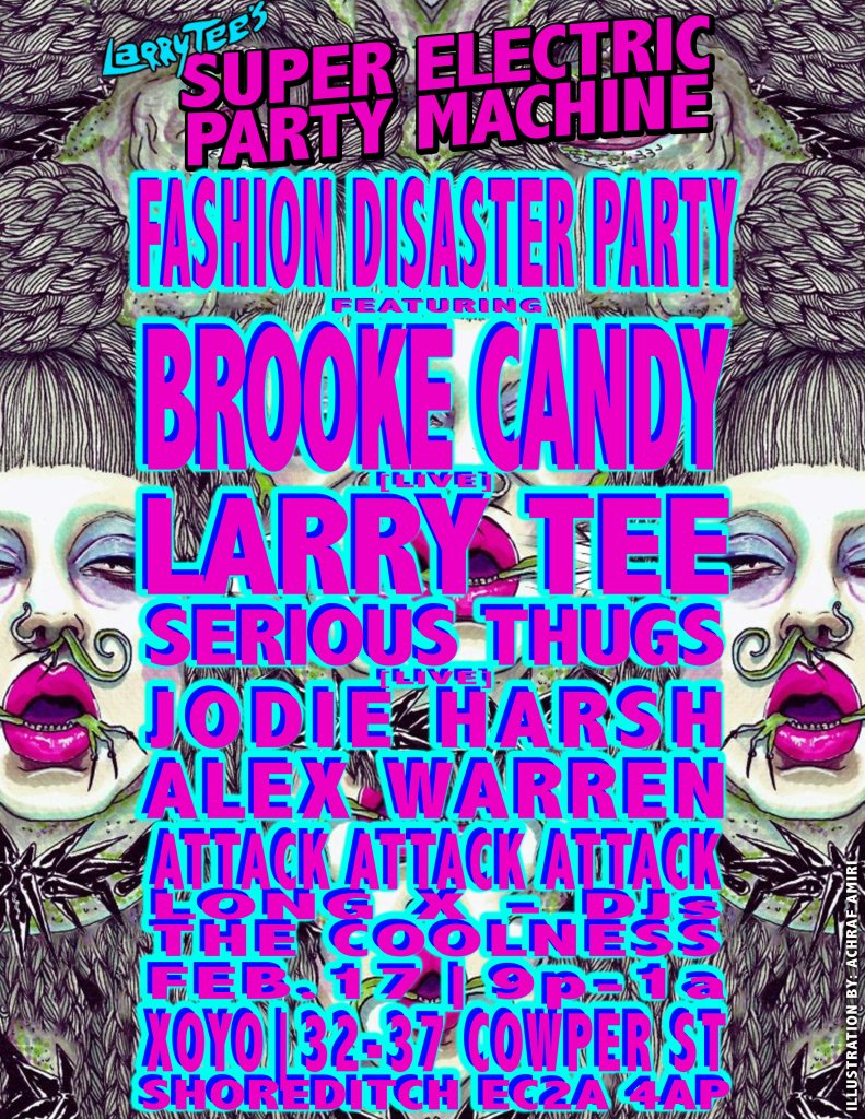 Larry Tee's 'Fashion Week Disaster Party - Flyer back