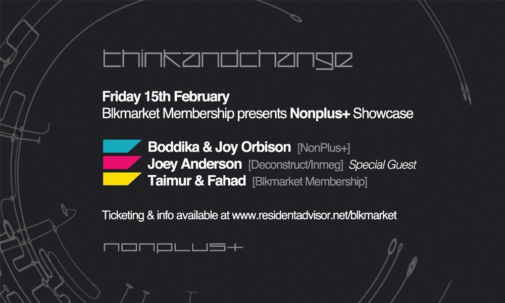 Blkmarket Membership presents Nonplus+ Showcase with Boddika & Joy Orbison, Joey Anderson - Flyer back
